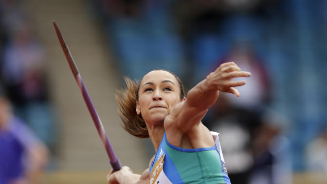 RUN: Great Britain's Jessica Ennis competes during the Javelin