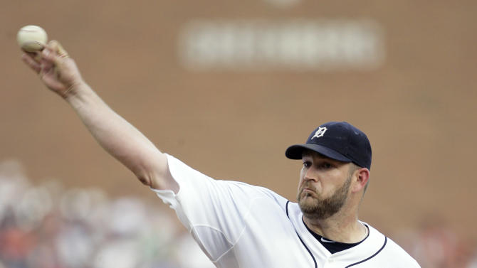 Detroit Tigers starter Brad Penny pitches against the San Francisco Giants in the second inning of a interleague baseball game Friday, July 1, 2011 in Detroit. (AP Photo/Duane Burleson)