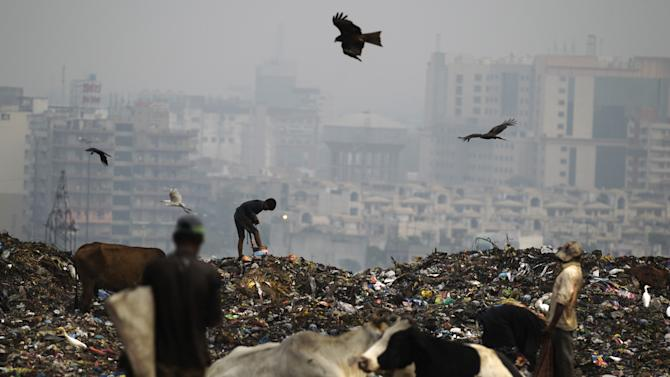 In this Sept. 13, 2012 photograph, Indian ragpickers go about their routine of searching through garbage for reusable garbage at a dumping ground on the outskirts of New Delhi, India. Those whose survival depends on this gray market in trash fear their lives are about to be upended. Because where they see money in those mountains of garbage, the New Delhi government sees electricity. Desperate for cheap energy, the Delhi government is experimenting with power plants fueled by garbage. One plant is now running on a trial basis and two more are under construction. (AP Photo/Altaf Qadri)