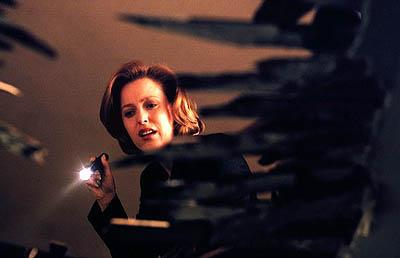 "Agent Dana Scully (Gillian Anderson) investigates circumstances around a man who seems to be just a little too luckyin ""The Goldberg Variation"" episode of Fox's The X-Files X-Files"