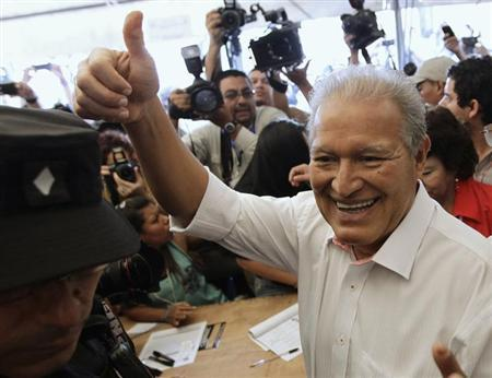 Ceren gestures after casting his vote in a presidential election runoff in San Salvador