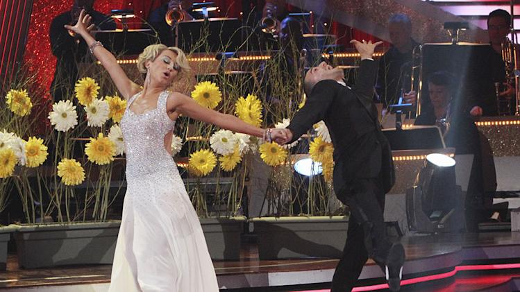 "Chelsea Kane and Mark Ballas perform the Foxtrot on ""Dancing with the Stars."""