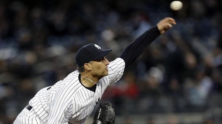 New York Yankees starting pitcher Andy Pettitte delivers against the Boston Red Sox in the first inning of a baseball game at Yankee Stadium in New York, Thursday, April 4, 2013. (AP Photo/Kathy Willens)