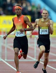 L-R: Puerto Rico's Javier Culson and Britain's Dai Greene compete in the men's 400m hurdles at the 2012 Diamond League athletics meet at Crystal Palace in London. Culson, unbeaten over the distance this season, romped home in 47.78secs