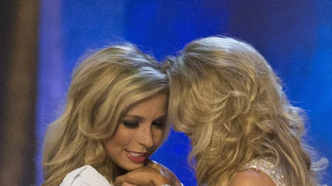 Miss New York Kira Kazantsev and Miss Virginia Courtney Paige Garrett hold hands moments before Kazantsev was announced 2015 Miss America in Atlantic City, New Jersey