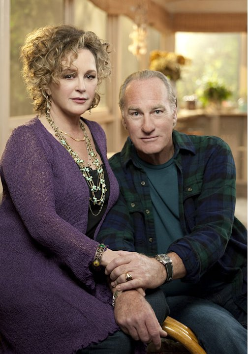 "Bonnie Bedelia as Camille Braverman and Craig T. Nelson as Zeek Braverman in ""Parenthood."""