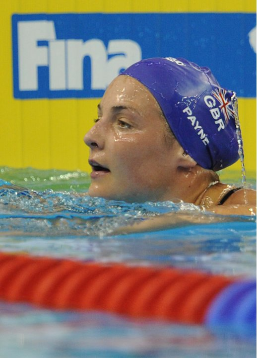 Britain's Keri-Anne Payne looks on after she competed in the heats of the women's 1,500-metre freestyle swimming event in the FINA World Championships at the indoor stadium of the Oriental Spo