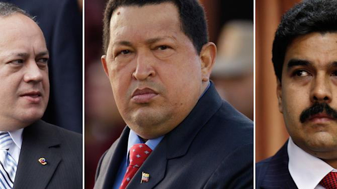 FILE - This combo of three file photographs shows, Venezuela's National Assembly President Diosdado Cabello, left, President Hugo Chavez and Vice President Nicolas Maduro. Chavez is due to be sworn in for a new term on Jan. 10, 2013, and his closest allies still aren't saying what they plan to do if the ailing leader is unable to return from a Cuban hospital to take the oath of office. While the president's allies so far appear united, analysts have speculated that differences might emerge between factions led by Maduro, Chavez's chosen successor, and Cabello, who is thought to wield power within the military and who would be in line to temporarily assume the presidency until a new election can be held. (AP Photo/Ariana Cubillos, Natacha Pisarenko, Files)