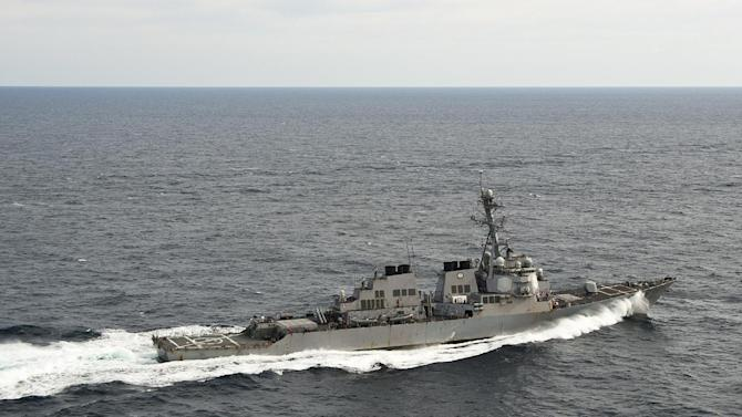 In this image provided by the U.S. Navy the Arleigh Burke-class guided-missile destroyer USS Porter (DDG 78) transits the Atlantic Ocean. The U.S. Navy said Sunday Aug. 12, 2012 that the USS Porter collided with the Panamanian-flagged bulk oil tanker M/V Otowasan early Sunday near the Strait of Hormuz but that no one was injured in the accident and overall damage to Porter is being evaluated, but the ship is able to operate under its own power. (AP Photo/US Navy, Seaman Harry Andrew D. Gordon)