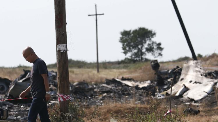 A Malaysian air crash investigator works at a crash site of the Malaysia Airlines Flight MH17 near the village of Hrabove (Grabovo), Donetsk region