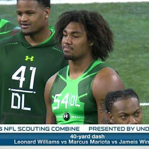 Who does University of Southern California defensive lineman Leonard Williams keep pace with?