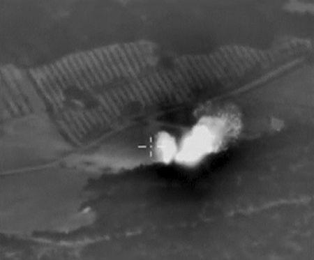 Frame grab shows airstrikes carried out by the country's air force in Syria