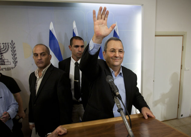 Israeli Defense Minister Ehud Barak waves to media after a conference in Tel Aviv, Monday, Nov. 26, 2012. Barak shook up the Israeli political system Monday with the abrupt announcement that he is qui