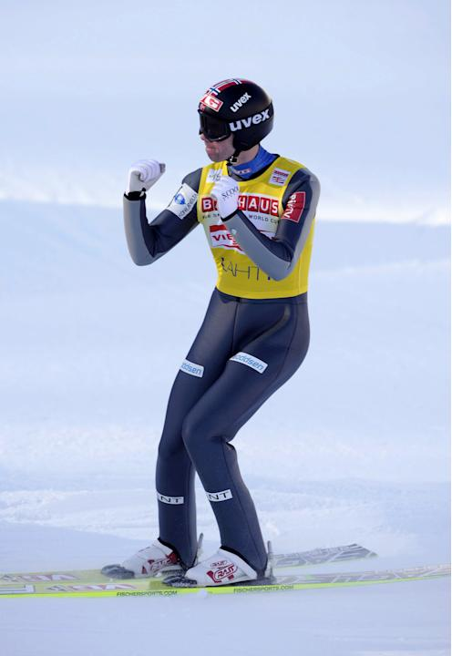 Second-placed Anders Bardal of Norway reacts after his second jump in the Normal Hill (HS97) World Cup ski jumping event during the FIS World Cup Lahti Ski Games in Lahti, on March 4, 2012 at the Laht