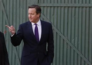 Britain's Prime Minister David Cameron pays a visit to small businesses at Lots Ait Boatyard in Brentford, west London