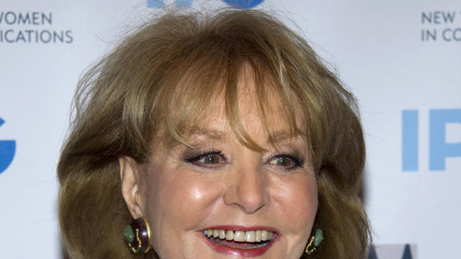 "FILE - In this April 23, 2012 file photo, veteran ABC newswoman Barbara Walters arrives to the Matrix Awards in New York. The veteran ABC News anchor is set to announce Monday morning, May 13, 2013 on ""The View"" that she will retire from TV journalism during the summer of 2014. (AP Photo/Charles Sykes, File)"