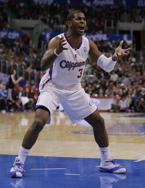 Los Angeles Clippers guard Chris Paul reacts after being called for a foul against the Memphis Grizzlies during the second half of an NBA basketball game in Los Angeles, Monday, Nov. 18, 2013