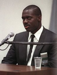 Canadian athlete Ben Johnson testifies at the Dubin Commission of Inquiry in June 1989 in Toronto. Johnson has revealed simmering anger over his Seoul 1988 drugs scandal and hit out at rival Carl Lewis, more than two decades after one of the Olympics' most infamous incidents