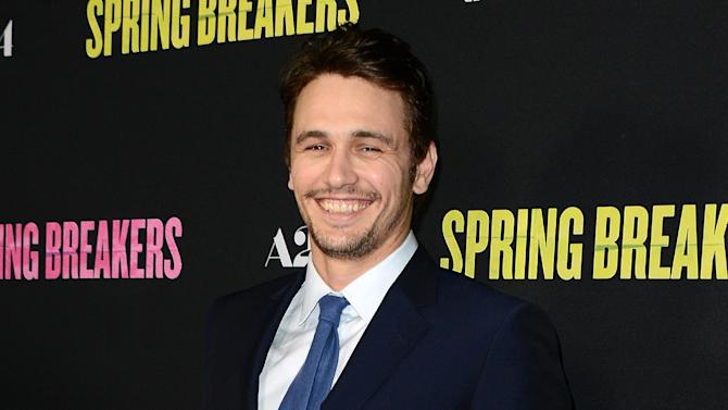 """FILE - This March 14, 2013 file photo shows actor James Franco at the LA premiere of """"Spring Breakers"""" at the ArcLight Hollywood in Los Angeles. Franco is seeking to raise $500,000 to bankroll a trilogy of movies. Franco on launched a campaign, Monday, June 17, on IndieGogo, a crowd-funding site that allows people to keep the money they raise, even if the project doesn't come to fruition. Franco isn't trying to direct the films, but to raise money so that a collection of young filmmakers can adapt his 2011 short story collection, """"Palo Alto.""""  (Photo by Jordan Strauss/Invision/AP)"""
