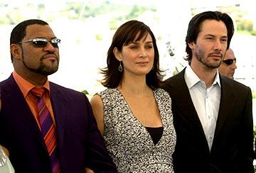 Laurence Fishburne, Carrie Anne Moss and Keanu Reeves The Matrix: Reloaded Photo Call Cannes Film Festival 5/15/2003