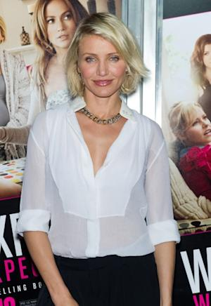 Cameron Diaz rocks a low-cut blouse at the 'What To Expect When You're Expecting' premiere in New York City on May 8, 2012  -- Getty Premium