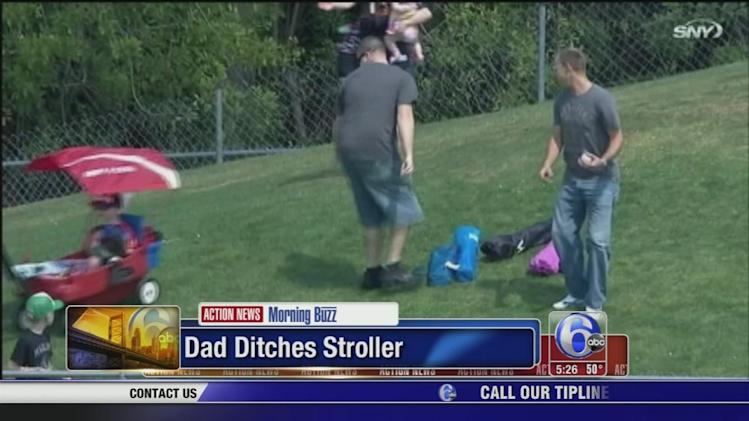 Dad ditches stroller to catch baseball, son rolls down hill