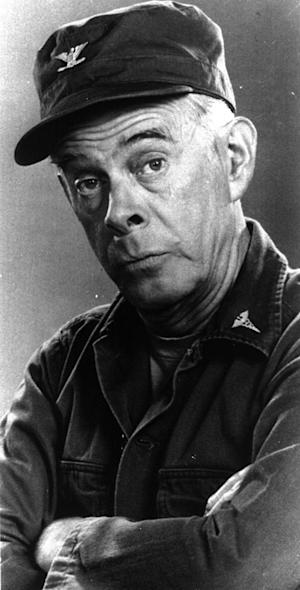 "FILE - In this 1976 handout photo, Harry Morgan poses on the set of his television show ""MASH,""   The Emmy-winning character actor whose portrayal of the fatherly Col. Potter on television's ""M*A*S*H"" highlighted a show business career that included nine other TV series, 50 films and the Broadway stage, died Wednesday, Dec. 7, 2011. He was 96.  Morgan appeared in mostly supporting roles on the big screen, playing opposite such stars as Henry Fonda, John Wayne, James Garner, Elvis Presley and Dan Aykroyd. On television, he was more the comedic co-star, including roles on ""December Bride,"" its spin-off ""Pete and Gladys,"" as Sgt. Joe Friday's loyal partner in later ""Dragnet"" episodes and on CBS-TV's long-running ""M-A-S-H"" series, for which he earned an Emmy award in 1980.  (AP Photo)"
