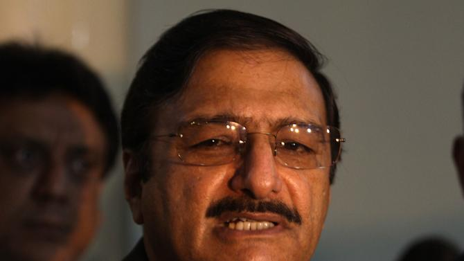"""Pakistan Cricket Board chief Zaka Ashraf talks to reporters in Lahore, Pakistan, Friday, Jan. 31, 2014. Ashraf warned the sport will be ruined if, in the proposed changes to the International Cricket Council, """"We go after money."""" (AP Photo/K.M. Chaudary)"""