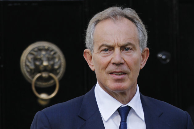 Former British Prime Minister Tony Blair leaves his house in central London, Monday, May 28, 2012. Blair will later appear at the UK media ethics inquiry examining whether politicians and press barons traded favors in the run-up to the phone hacking scandal that brought down Rupert Murdoch&#39;s News of the World. (AP Photo/Sang Tan)
