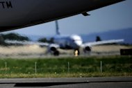 An airplane taxies to take off at Rome's Fiumicinoi airport in 2010. Italy's beleaguered budget airline Windjet stopped operations Sunday as aviation authority ENAC appeared set to revoke its operating licence, stranding passengers overnight at Fiumicino