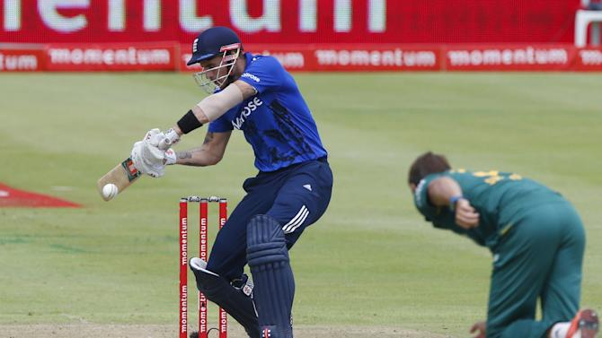 England's Hales plays a shot during the One Day International Cricket match against South Africa in Cape Town
