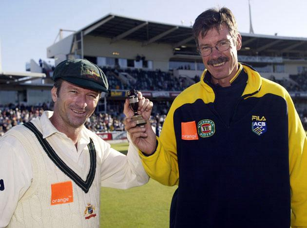 Steve Waugh and John Buchanan celebrate win