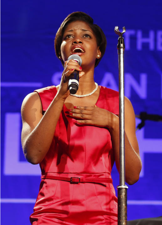 Anaelle Jean-Pierre performs on stage at 3rd Annual Sean Penn & Friends HELP HAITI HOME Gala on Saturday, Jan. 11, 2014 at the Montage Hotel in Beverly Hills, Calif. (Photo by Colin Young-Wolff /Invis
