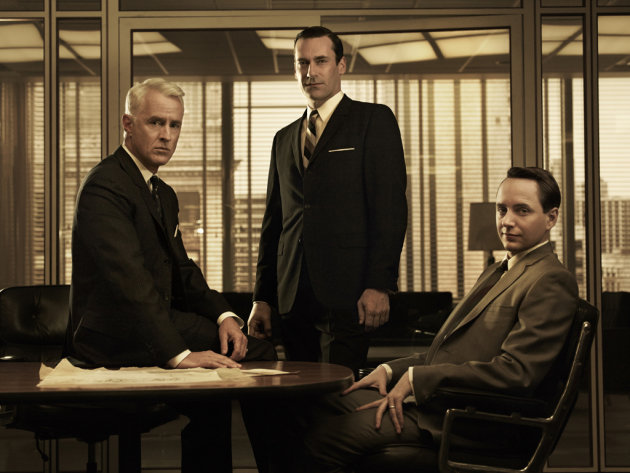 "John Slattery as Roger Sterling, Jon Hamm as Don Draper, and Vincent Kartheiser as Pete Campbell in ""Mad Men."""