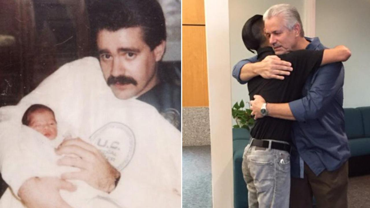 Retired Santa Ana police officer reunites with man he rescued as an abandoned baby