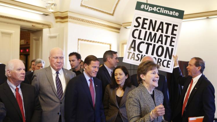 U.S. Senators from the Senate Climate Action Task Force gather on Capitol Hill in Washington