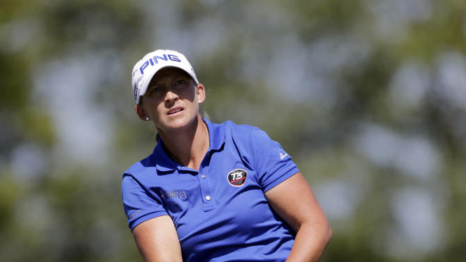 Angela Stanford watches her drive from the 11th tee during final round play in the Navistar LPGA Classic golf tournament on Sunday, Sept. 23, 2012, at the Robert Trent Jones Golf Trail in Prattville, Ala. (AP Photo/Dave Martin)