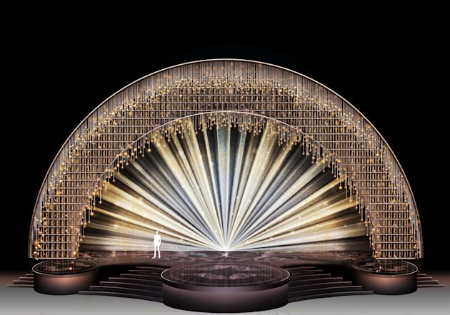 This undated photo illustration released by Polk and Co., shows the set design for the Academy Awards by designer Derek McLane. McLane, much sought-after for his use of unlikely materials in sublime patterns, was tapped to put together the set for the 85th Academy Awards telecast on Sunday, Feb. 24, 2013. (AP Photo/Polk and Co., Joan Marcus)