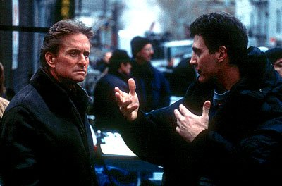 Michael Douglas and director Gary Fleder on the set of 20th Century Fox's Don't Say A Word