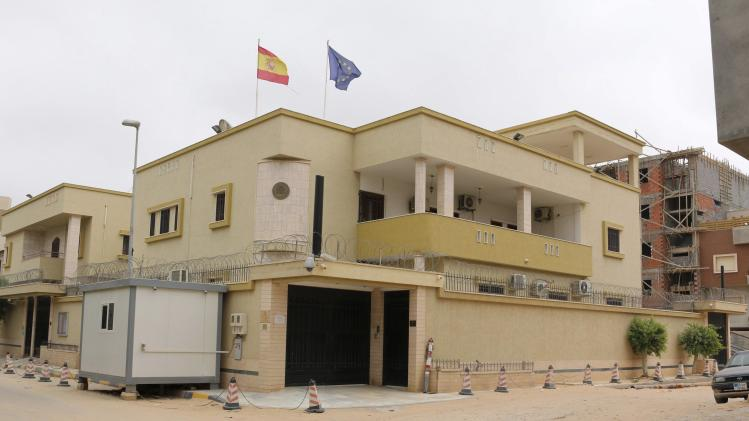An exterior view of the Spanish embassy in Tripoli
