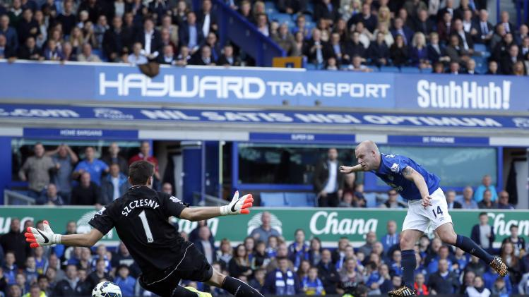 Everton's Naismith shoots to score against Arsenal during their English Premier League soccer match at Goodison Park in Liverpool