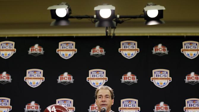 Alabama head coach Nick Saban speaks during a news conference for the BCS National Championship college football game Sunday, Jan. 6, 2013, in Miami. (AP Photo/David J. Phillip)