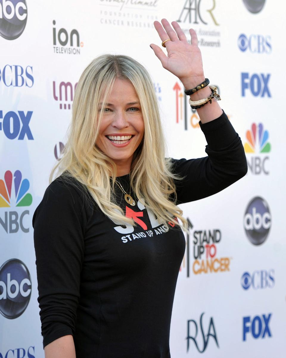"TV host Chelsea Handler attends the ""Stand Up to Cancer"" event at the Shrine Auditorium on Friday, Sept. 7, 2012 in Los Angeles. The initiative aimed to raise funds to accelerate innovative cancer research by bringing new therapies to patients quickly.  (Photo by John Shearer/Invision/AP)"