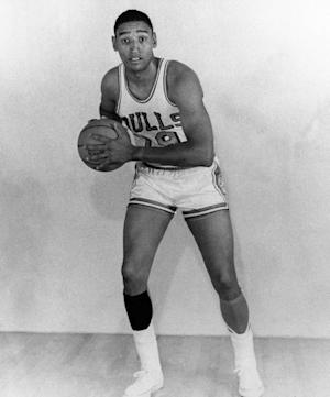 FILE - In this 1968 photo provided by the Chicago Bulls, Bulls' Bob Boozer poses in uniform. Former NBA star and 1960 Olympic gold medalist Boozer has died. He was 75. Thomas Funeral Home in Omaha confirmed that Boozer died Saturday night, May 19, 2012. (AP Photo/The Chicago Bulls, File)