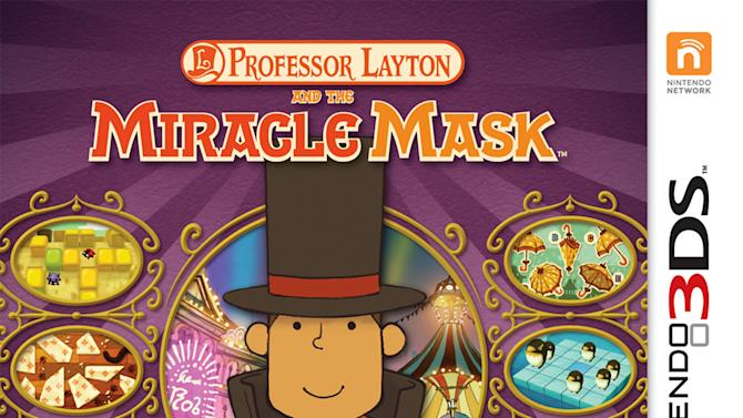 """This undated publicity photo provided by Nintendo of America, Inc. shows the box cover for """"Professor Layton and the Miracle Mask,"""" a game for Nintendo's handheld 3DS gaming system. In the game, Professor Layton and his assistants explore the fictional city of Monte d'Or as the player solves puzzles and tracks down a mysterious figure who has turned some residents of the city into stone. The game is rated """"E"""" for everyone. (AP Photo/Nintendo of America, Inc.)"""