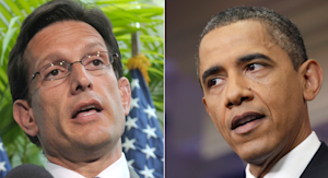 Republican House Majority Leader Eric Cantor, left, and Democratic President Barack Obama, right, have apparently feuded recently over the debt ceiling crisis