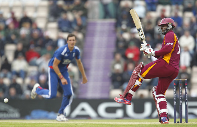 Dwayne Smith of West Indies plays a shot