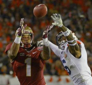 Auburn's Jonathon Mincy (6) breaks up a pass intended for Florida State's Giorgio Newberry during the first half of the NCAA BCS National Championship college football game Monday, Jan. 6, 2014, in Pasadena, Calif. (AP Photo/Mark J. Terrill)