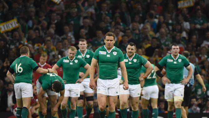 Ireland's centre Jared Payne (C) walks back after scoring a try during a Pool D match of the 2015 Rugby World Cup between Ireland and Canada at the Millenium stadium in Cardiff, south Wales on September 19, 2015