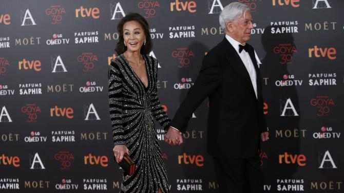 Writer Vargas Llosa and his partner Preysler pose on the red carpet before the Spanish Film Academy's Goya Awards ceremony in Madrid